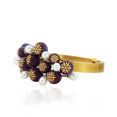 Antique Gold Pearl Bracelet with Intricate Meenakari Work