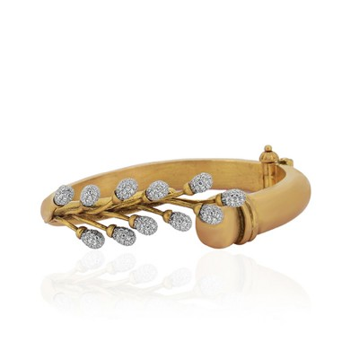 Antique Gold Leaf Bracelet with CZ Diamonds