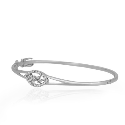 Silver Leaf Shaped Diamond Bracelet