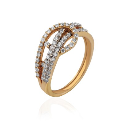 Knot Shaped Two Tone Diamond Ring