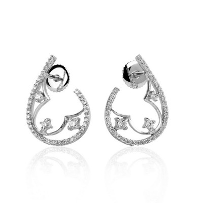 Half Pear Half Clover Diamond Earrings