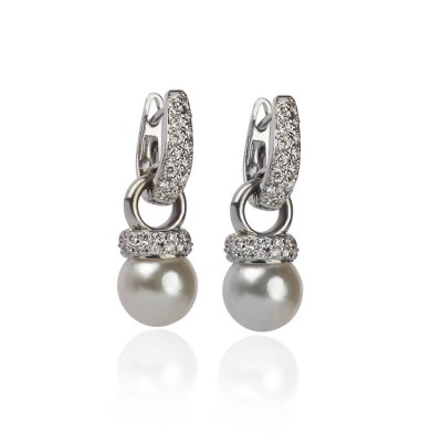 Pearl and Pavé Diamond Hoop Earrings