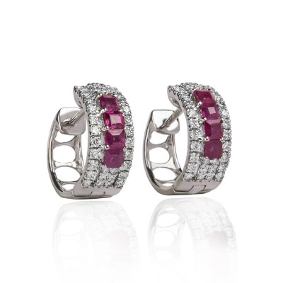 Hoop Diamond Earrings with Red Gemstones