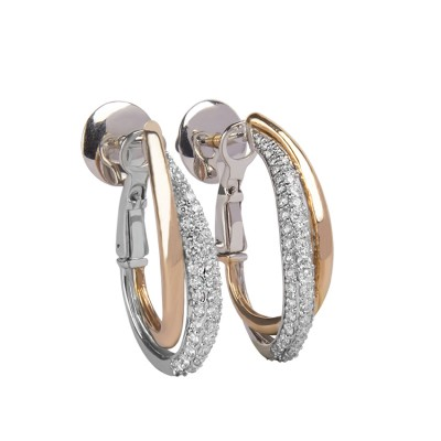 White Gold and Rose Gold Diamond Hoop Earrings