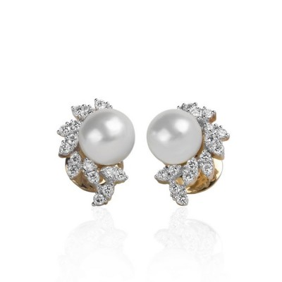 Pearl and Diamond Ear Studs