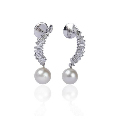 Half Moon Earrings With Pearl Drop
