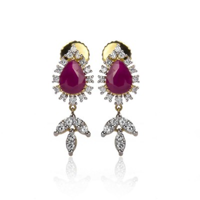 Pear Shaped Diamond Ruby Earrings