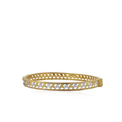 Gold Bangle with Rhodium Polish