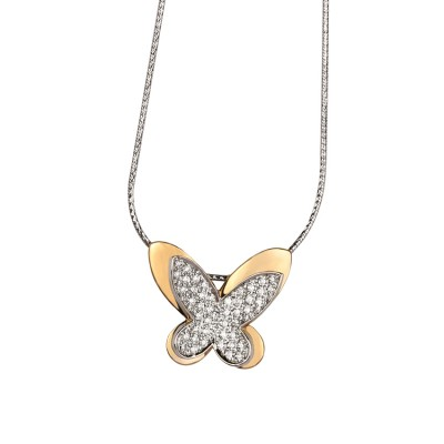 Rose Gold Butterfly Shaped Diamond Pendant