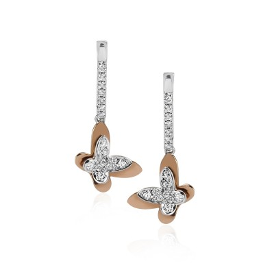 Butterfly Drop Diamond Earrings