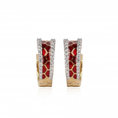 Hoop Diamond Earrings with Red Meenakari Work