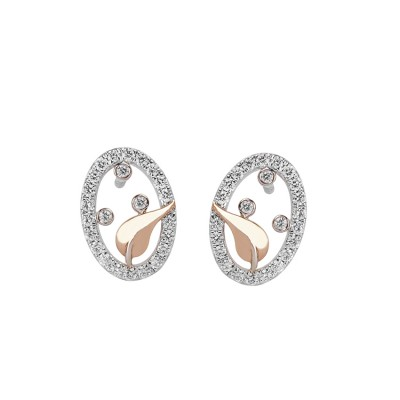 Celestial Diamond Earrings in Rose Gold