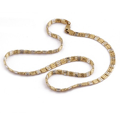 Two Tone Square Pieced Italian Chain