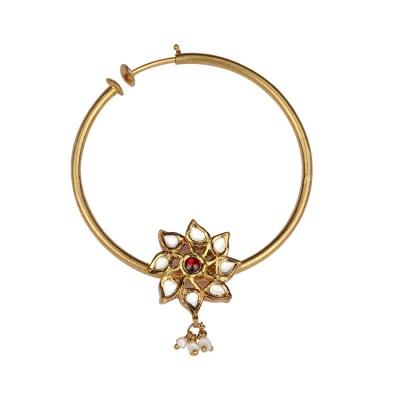 Floral Gold Nath with Jadtar and Ruby