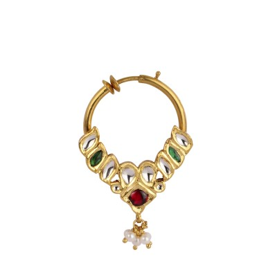 Traditional Gold Nath with Jadtar and Real Stones