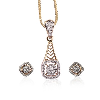 Concentric Square Diamond Pendant Set