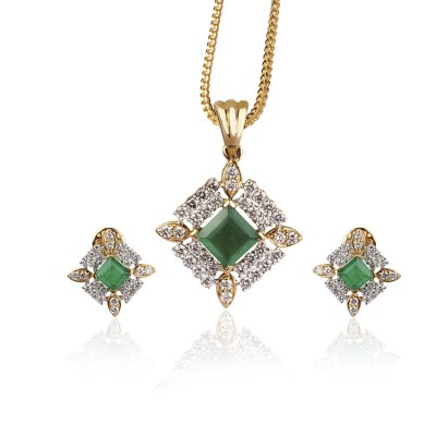 Zenia Diamond Pendant Set