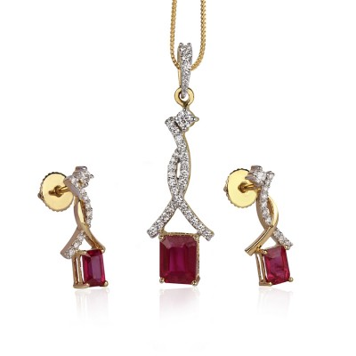 Twisted Ruby Diamond Pendant Set