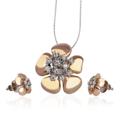 Rose Gold Floral Bloom Diamond Pendant Set