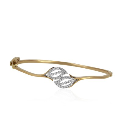 Rose Gold Leaf Shaped Diamond Bracelet