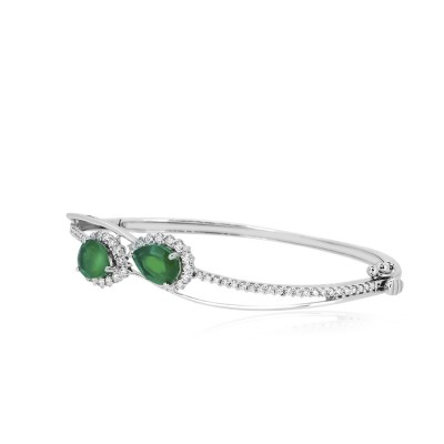 Pear Shaped Emerald and Diamond Bracelet