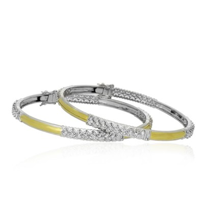 Delicate Two Tone Diamond Bangles with Rodium Polish on the Side