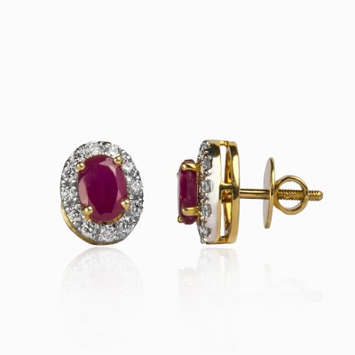Oval Diamond Earrings with Ruby