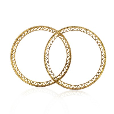 Metro Single Line Gold Heart Bangle with CZ Diamonds