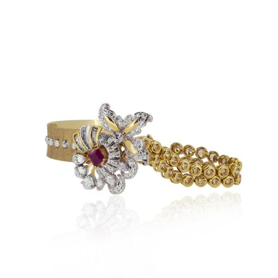 Floral Gold Bracelet with Real Ruby and CZ Diamonds