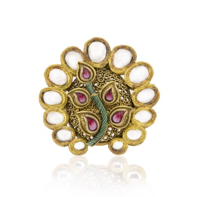 Antique Gold Peacock Design Ring with Jadtar