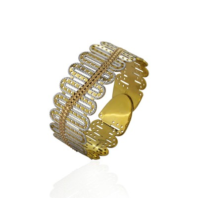 Twist Gold Bangle with Rhodium Polish