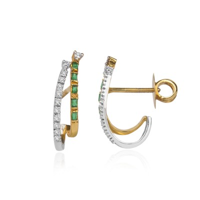 Curvy Flap Diamond Earrings with Green Gemstone
