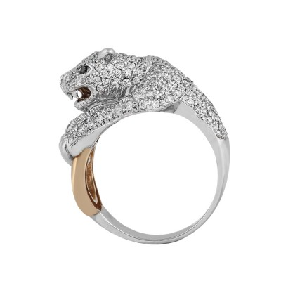 Panther Head Diamond Ring