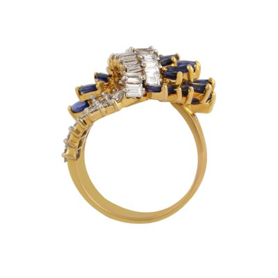 Enchanted Sapphire Cluster and Diamond Cocktail Ring
