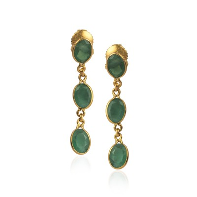 22Kt Gold Dangle Earrings with Green Gemstone