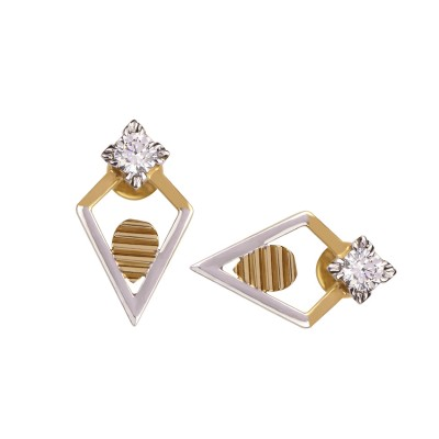 Geometric Shaped Gold Earrings with CZ diamonds