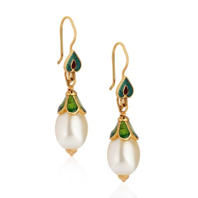 Elegant Gold Earrings with Pearl and Meenakari Work